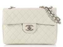 Chanel Quilted Cc Ch.k1209.02 White Leather Shoulder Bag