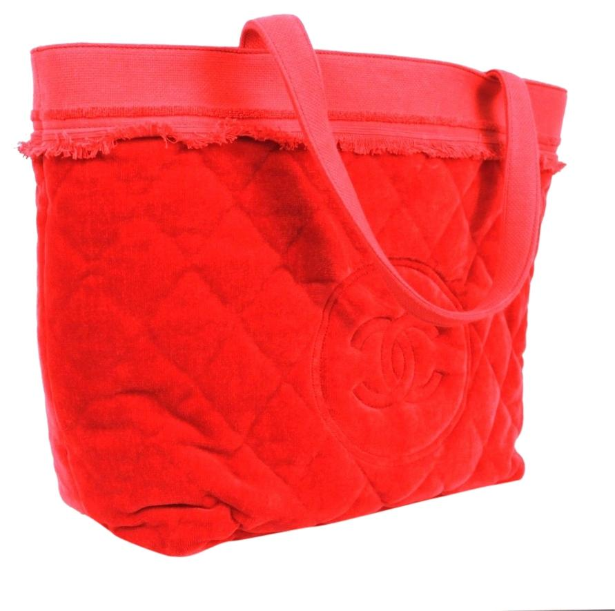 Chanel Quilted 100% Cotton Cc Logo Towel Candy Red Beach Bag ...