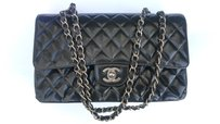 Chanel Quilted Patent Leather Square Flap Satchel in Black