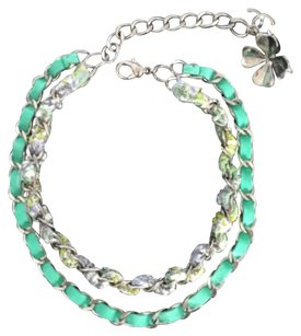 Chanel SALE!! Spring Green Silver Hardware Suede And Tweed Double Chain Clover CC necklace