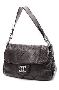 Chanel Glazed Quilted Satchel in Black