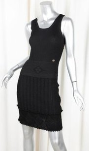 Chanel short dress Black 07p Womens Classic Knit Sleeveless Scoopneck Shift 386 on Tradesy