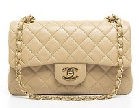 Chanel Beige Lambskin Double Shoulder Bag
