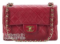 Chanel Red Lambskin Double Flap Ghw Shoulder Bag