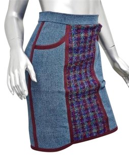 Chanel Boutique Womens Denimred Boucle Panel Pencil Straight Mini 364s Skirt