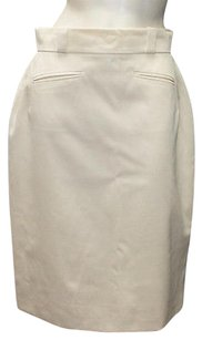 Chanel Tropical Wool Classic Straight Pencil Hs1161 Skirt Ivory