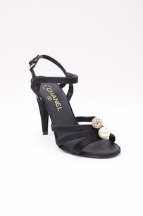 Chanel Satin Pearl Crystal Embellished Cone Heel Strappy Sandal Black Pumps