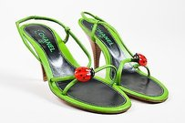 Chanel Leather Lady Bug Green Sandals