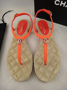 Chanel 15c Dark Kid Orange Sandals