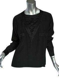 Chanel Vintage Black Silk Top Blacks