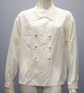 Chanel Silk Long Sleeve Button Front Double Breasted Hs1180 Top Ivory
