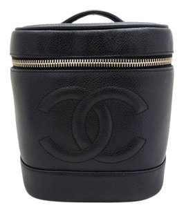 Chanel Used Pre-owned Chanel Black Caviar Leather Vanity Tote Bag