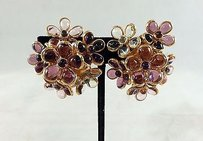 Chanel Very Rare Chanel Gripoix Gold Tone Multi-color Floral Cluster Clip On Earrings