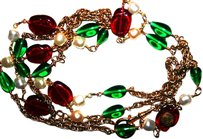 Chanel Vintage CHANEL GRIPOIX Red*Green*Pearl Gold NECKLACE 64
