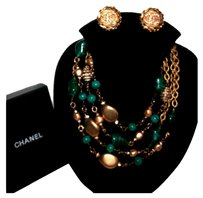 Chanel VINTAGE CHANEL SAUTOIR GRIPOIX Green/Marbled,Crystal,Gold Beads,Pearls