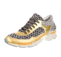 Chanel Tweed Sneakers Gold Multi-Color Athletic