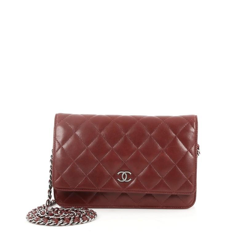 Chanel Wallet On Chain Quilted Burgundy Lambskin Clutch