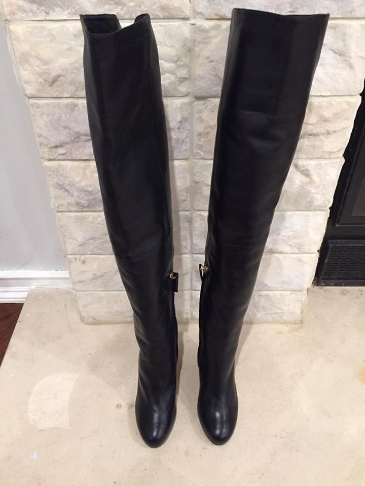 Chanel 15b Leather Cc Thigh High Knee Tall Otk Wedge 37 $2400 ...