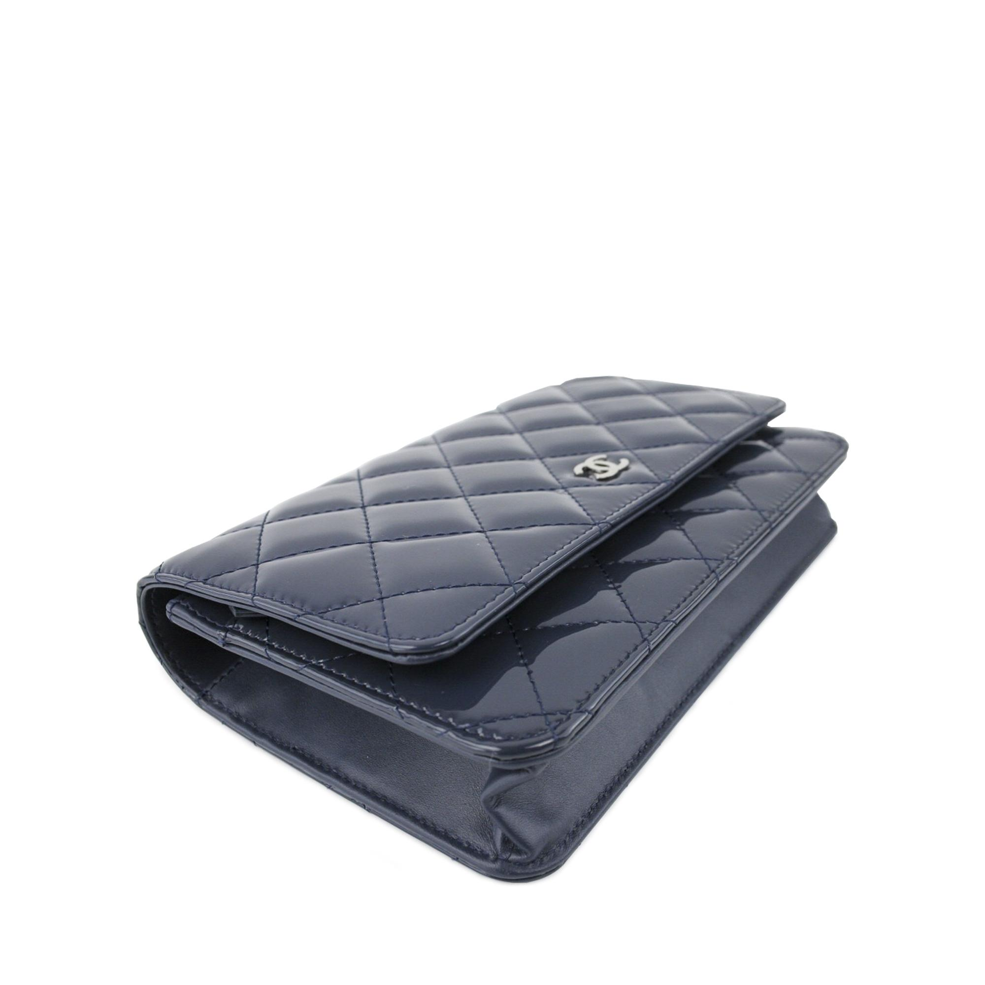 chanel classic quilted wallet on chain blue cross body bag