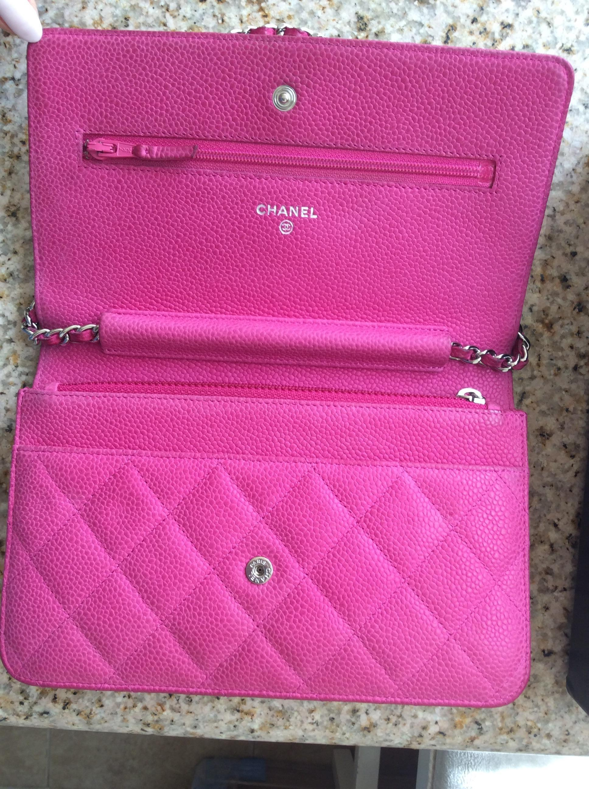 hot pink chanel bags. chanel hot caviar leather wallet on chain woc shw pink cross body bags