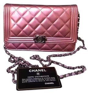 Chanel Woc Metallic Pink Boy Shoulder Bag