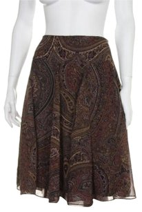 Chaps Womens Black Paisley Skirt Multi-Color