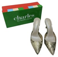 Charles David Mule Gold Reptile Pumps