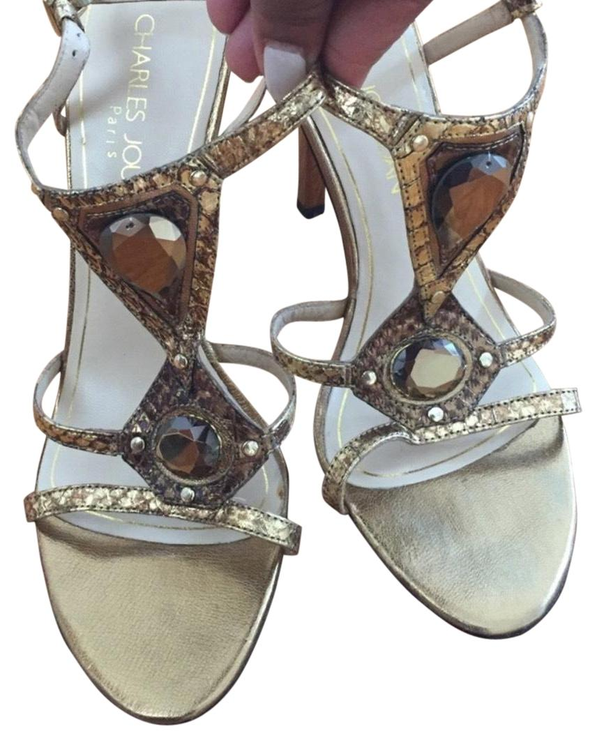 online cheap quality Charles Jourdan Metallic Multi-Strap Wedge Sandals shopping online original d7obHRgdI