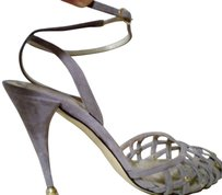 Charles Jourdan Suede Ankle Straps Gold Details gray Sandals