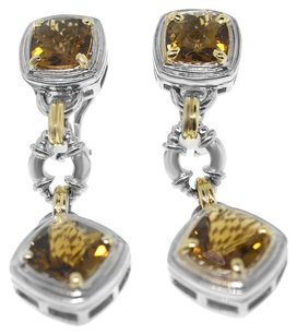 Charles Krypell Charles Krypell 14k Gold and Silver Beer Quartz Earrings