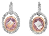 Charles Krypell Charles Krypell 14K Rose Gold and Silver Pink Topaz Drop Earrings