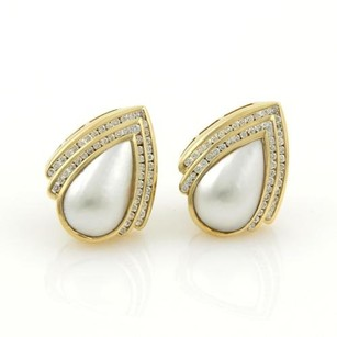 Charles Krypell Charles Krypell 2ct Diamonds Mabe Pearl 18k Yellow Gold Post Clip Earrings