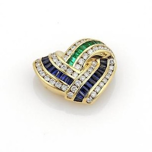 Charles Krypell Charles Krypell 3ct Diamond Emerald Sapphire 18k Yellow Gold Heart Pendant