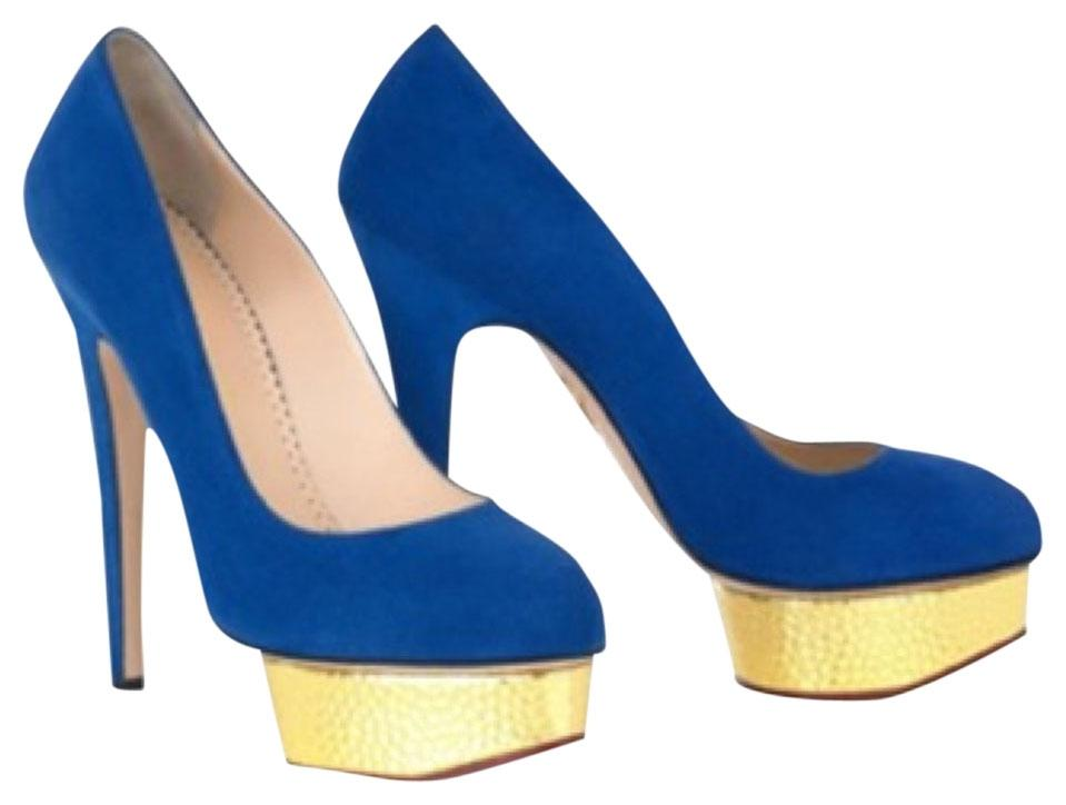 Charlotte Olympia Cobalt Dolly Pump Platforms Size US 6 Regular (M, B)