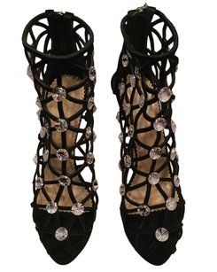 Charlotte Olympia Suede Crystals Black Pumps