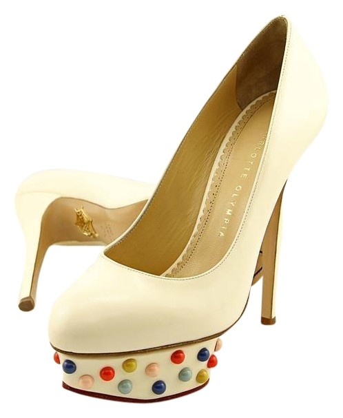 Charlotte Olympia White Dolly Studs Women Pumps Size US 7.5 Regular (M, B)
