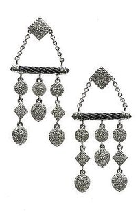 Charriol Charriol 18k White Gold Diamond Celtic Noir Earrings