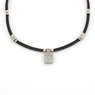 Charriol Philippe Charriol Diamonds 18k White Gold Steel Pendant Double Cable Necklace