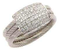 Charriol Philippe Charriol Flamme Blanche 18k White Gold Diamonds Cable Ring