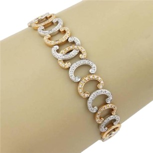 Charriol Phillipe Charriol 18k White Rose Gold 0.70ct Diamond C Link Bracelet