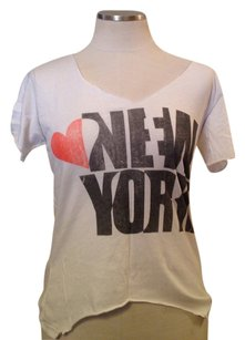 Chaser V Neck Raw Edge New York Top white
