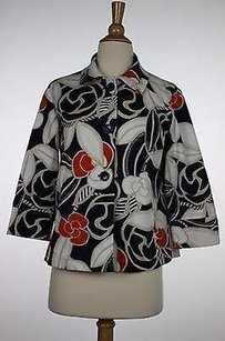Chico's Womens Navy White Floral Basic 0 34 Sleeve Cotton Blazer Outer Multi-Color Jacket