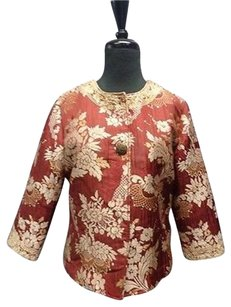 Chico's Chicos Brocade Red And Tan Jacket
