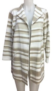 Chico's Chicos Neutral Stripe Duster Tan Jacket