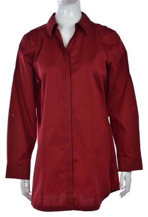 b3914d6f6a3adb outlet Chico s Chicos Non-iron Womens Red Button Down Cotton Top Shirt  Blouse
