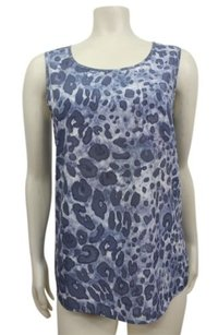 Chico's Leopard Lana 0 Washed Stone Top Blue
