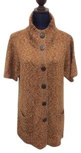 Chico's Additions By Dress Cardigan Brown Tan Yellow Wool Acrylic Sweater