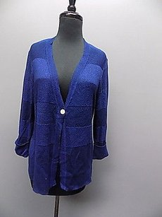 Chico's Shiny V Neck One Button Thin Knit Textured Cardigan 1 066a Sweater
