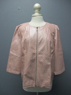 Chico's Chicos Pink Full Zip Sleeves Solid Casual Blazer Jacket Sma8961