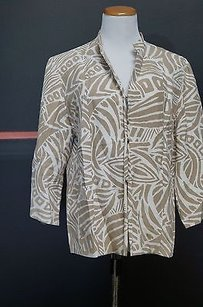 Chico's Chicos Tanoff White Silk Blend Long Sleeve Lined Hook Blazer 13856